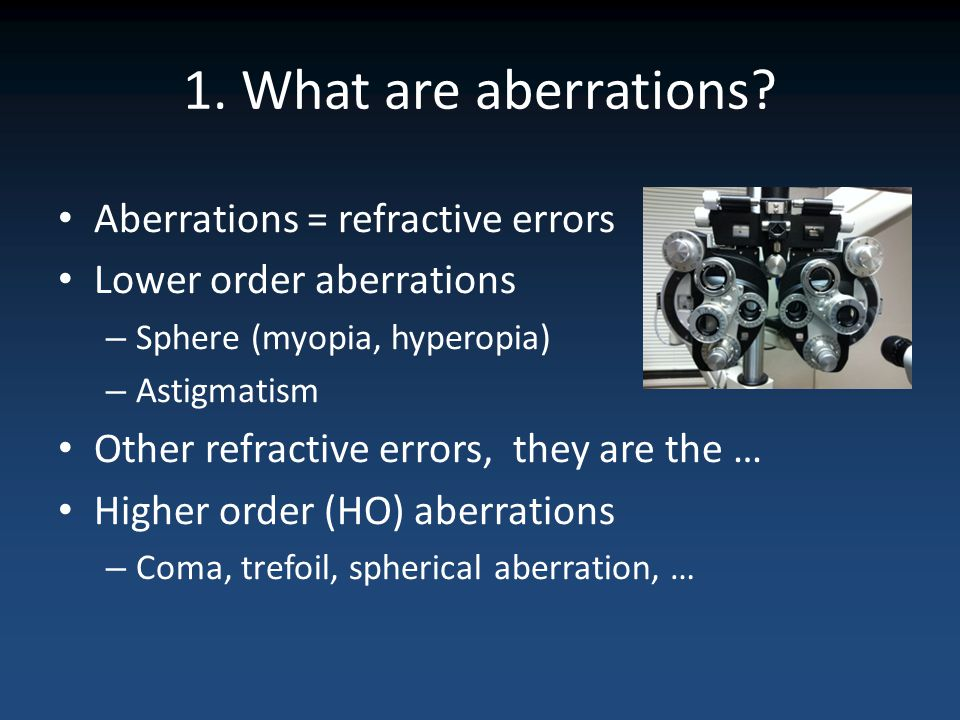 1. What are aberrations Aberrations = refractive errors