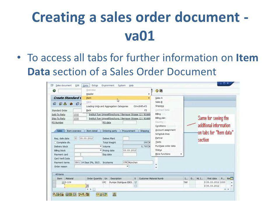 Creating a sales order document - va01