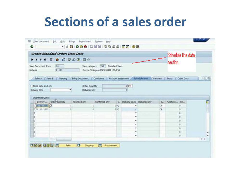 Sections of a sales order