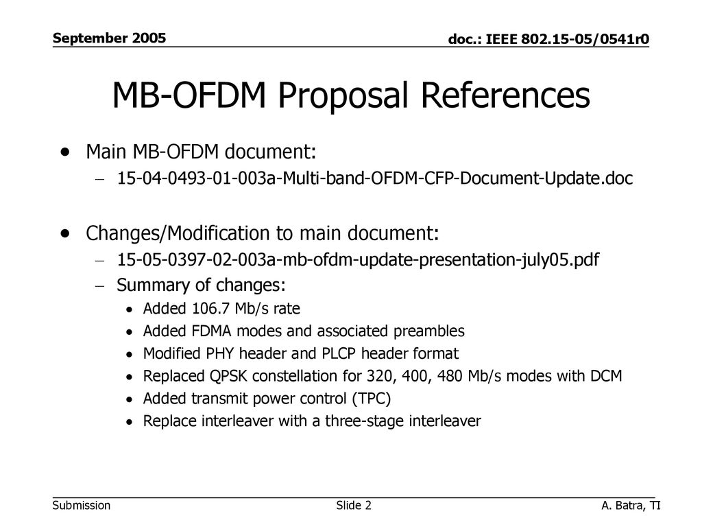 MB-OFDM Proposal References