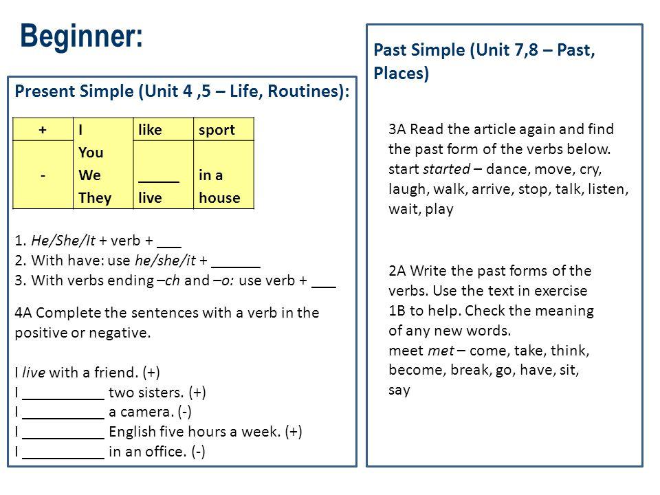 Beginner: Past Simple (Unit 7,8 – Past, Places)