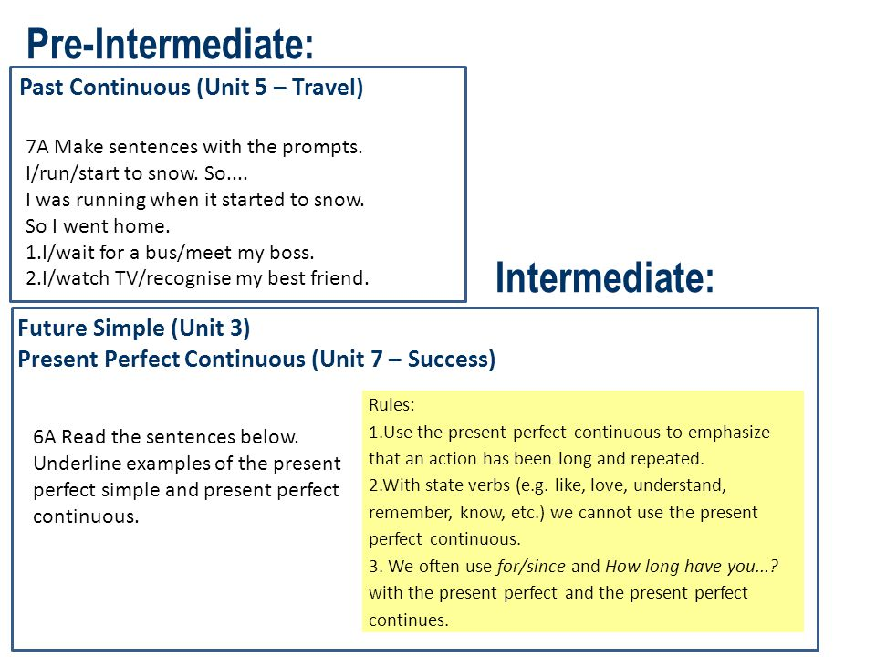 Pre-Intermediate: Intermediate: Past Continuous (Unit 5 – Travel)