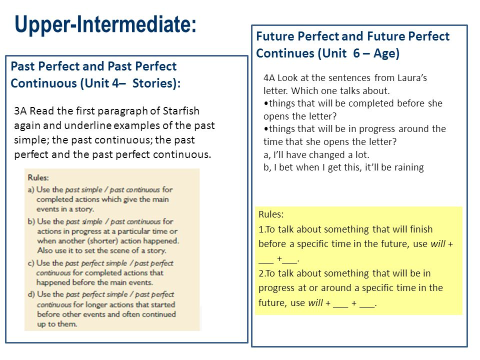 Upper-Intermediate: Future Perfect and Future Perfect Continues (Unit 6 – Age) Past Perfect and Past Perfect Continuous (Unit 4– Stories):