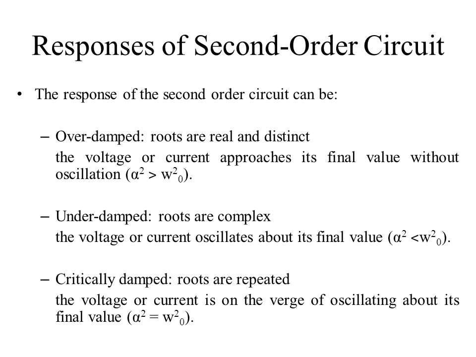 Responses of Second-Order Circuit
