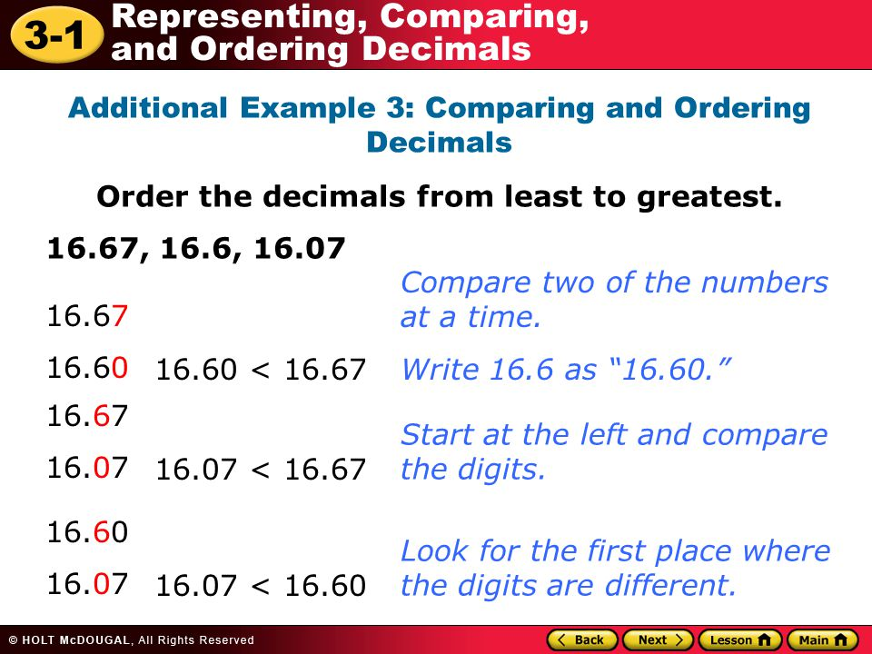 Order the decimals from least to greatest.