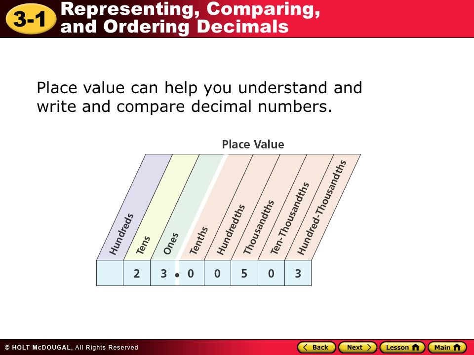 Place value can help you understand and write and compare decimal numbers.