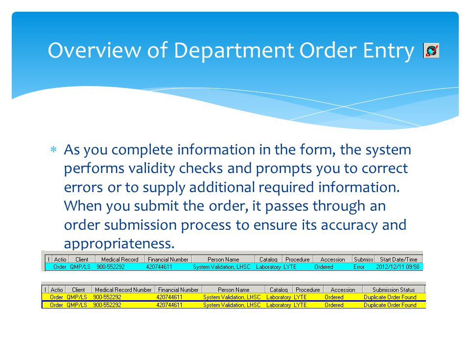 Overview of Department Order Entry