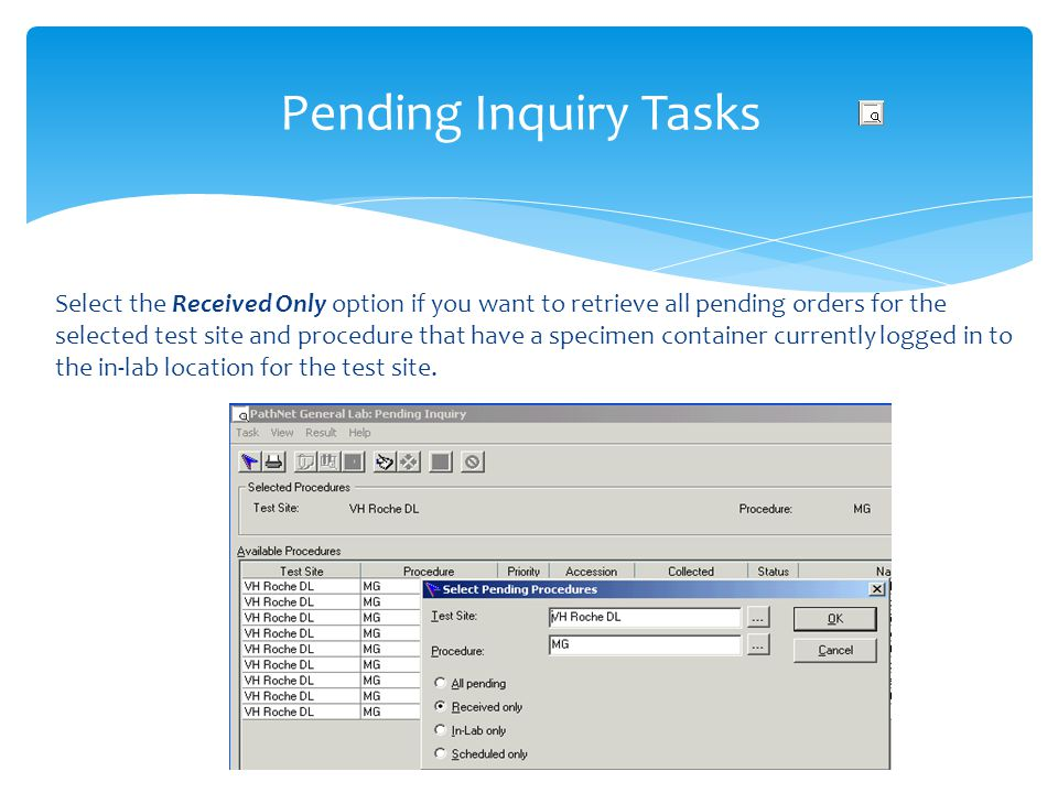 Pending Inquiry Tasks