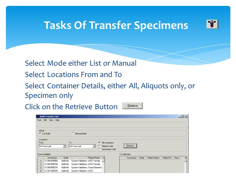 Tasks Of Transfer Specimens