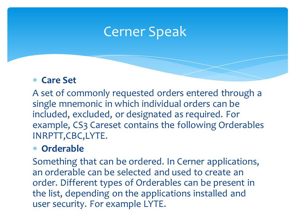 Cerner Speak Care Set.
