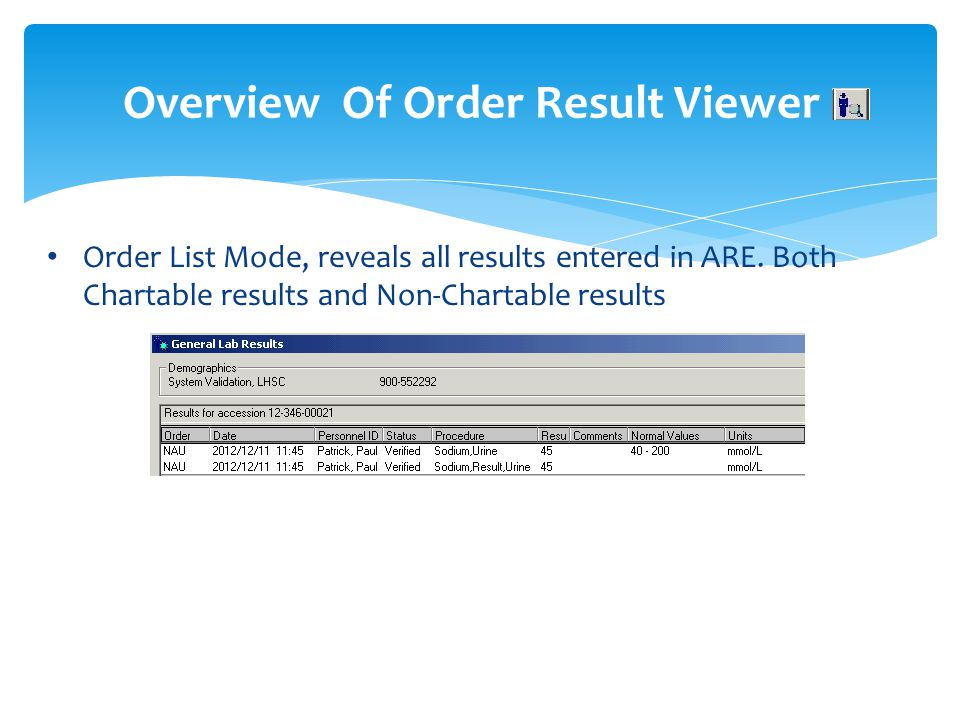 Overview Of Order Result Viewer
