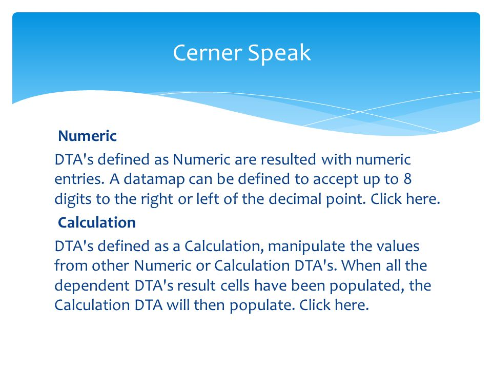 Cerner Speak Numeric.