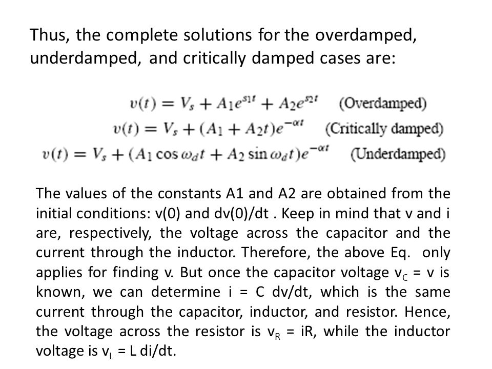 Thus, the complete solutions for the overdamped, underdamped, and critically damped cases are: