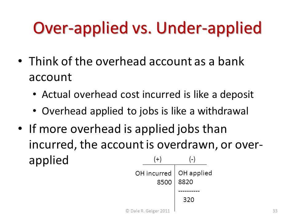 Over-applied vs. Under-applied