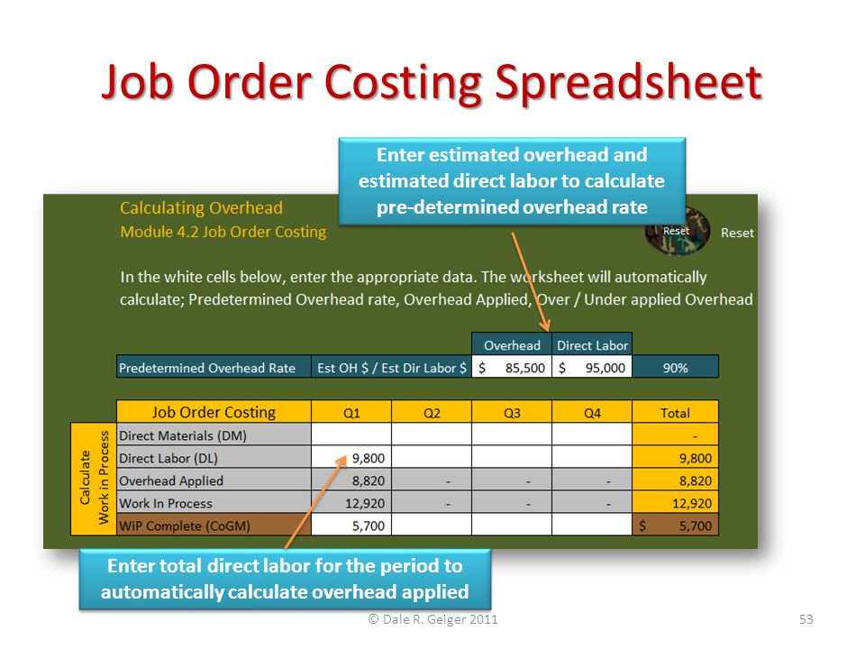 Job Order Costing Spreadsheet