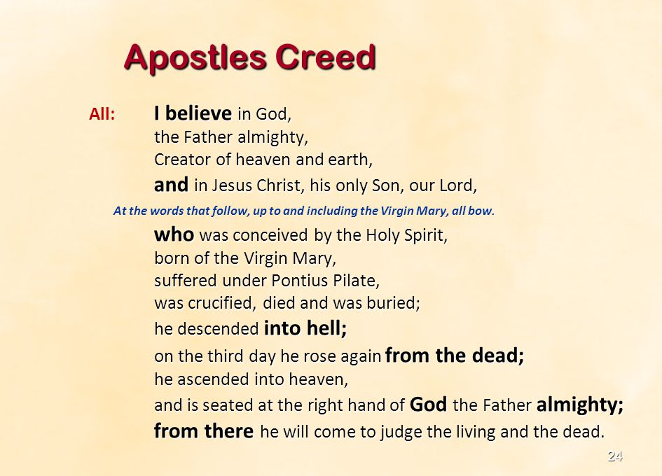Apostles Creed All: I believe in God, the Father almighty,