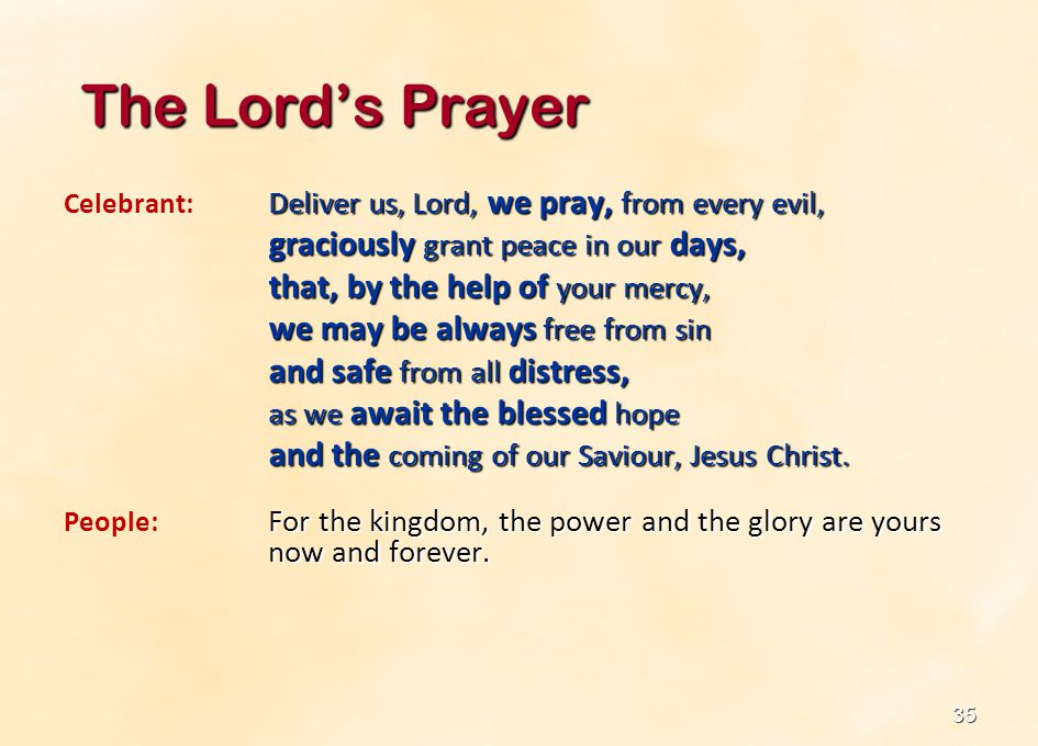 The Lord's Prayer graciously grant peace in our days,