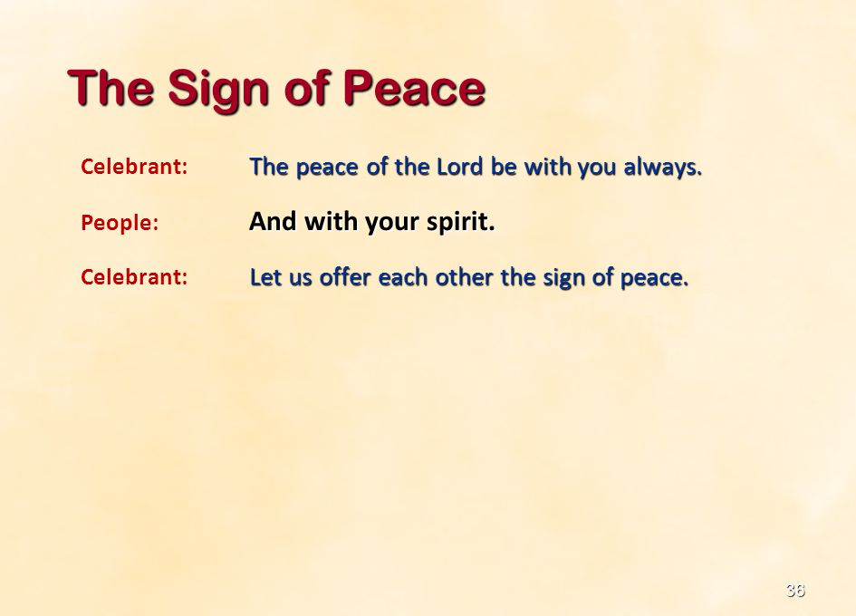 The Sign of Peace Celebrant: The peace of the Lord be with you always.
