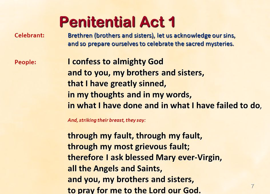 Penitential Act 1 and to you, my brothers and sisters,