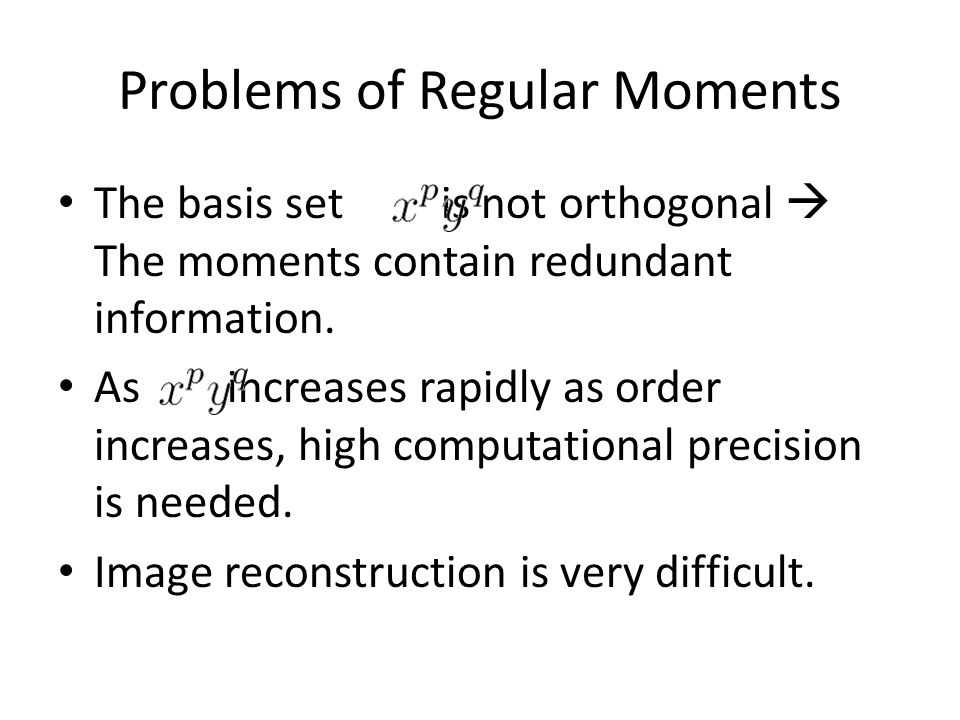 Problems of Regular Moments