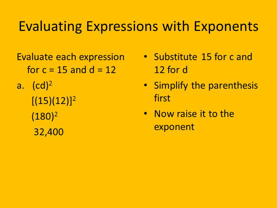 Evaluating Expressions with Exponents