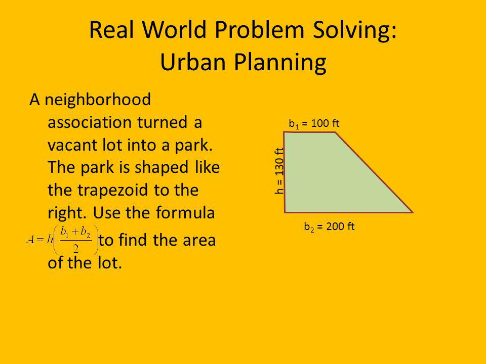 Real World Problem Solving: Urban Planning