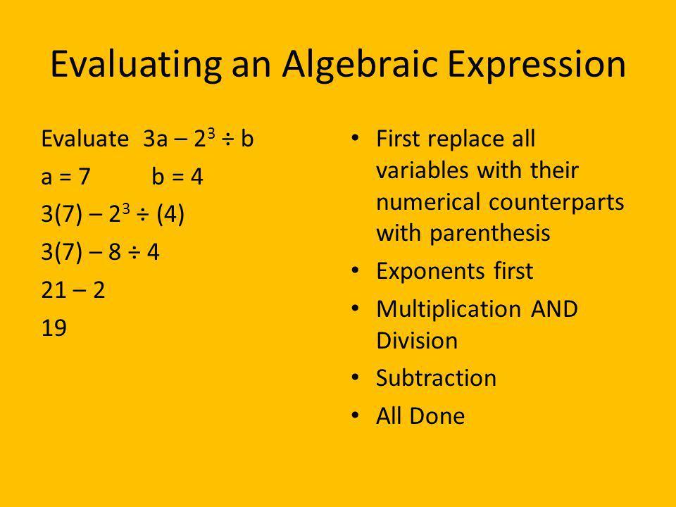 Evaluating an Algebraic Expression