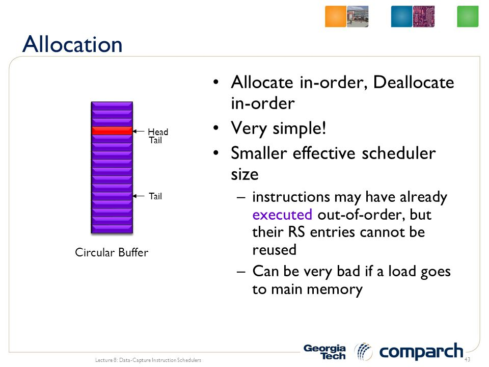 Allocation Allocate in-order, Deallocate in-order Very simple!