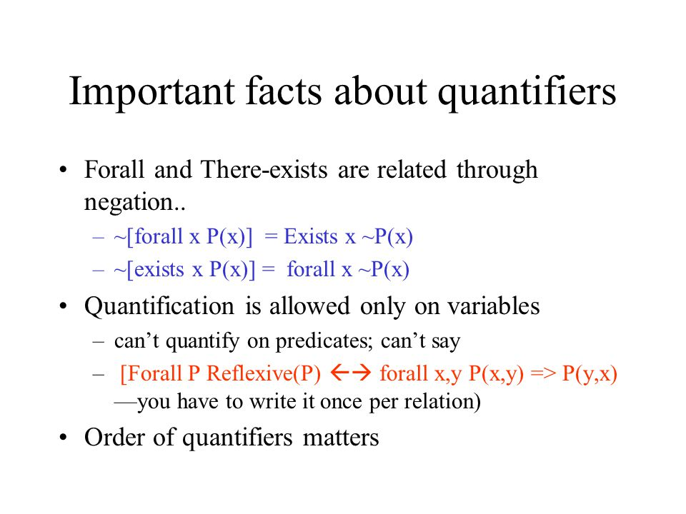 Important facts about quantifiers
