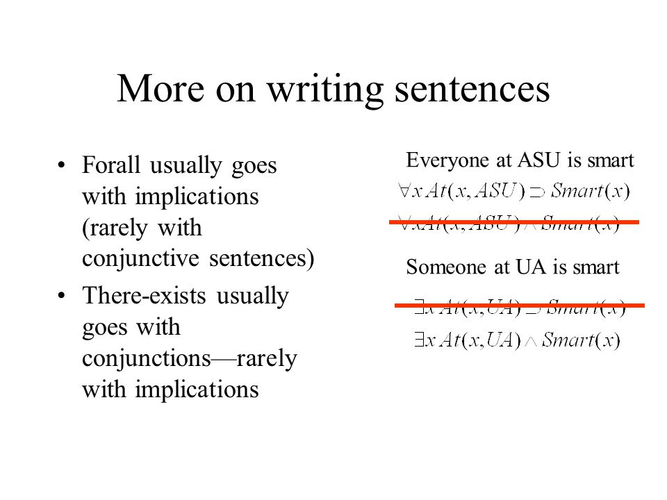 More on writing sentences