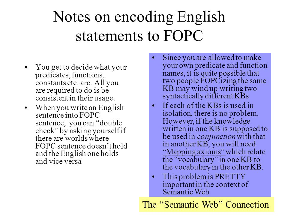 Notes on encoding English statements to FOPC
