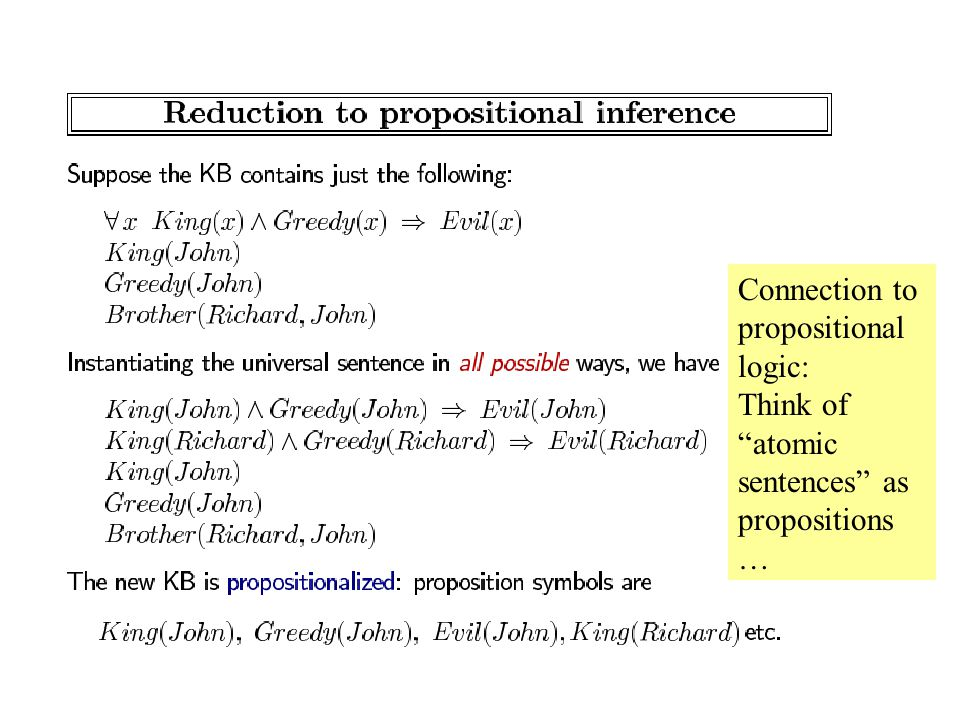 Connection to propositional logic: