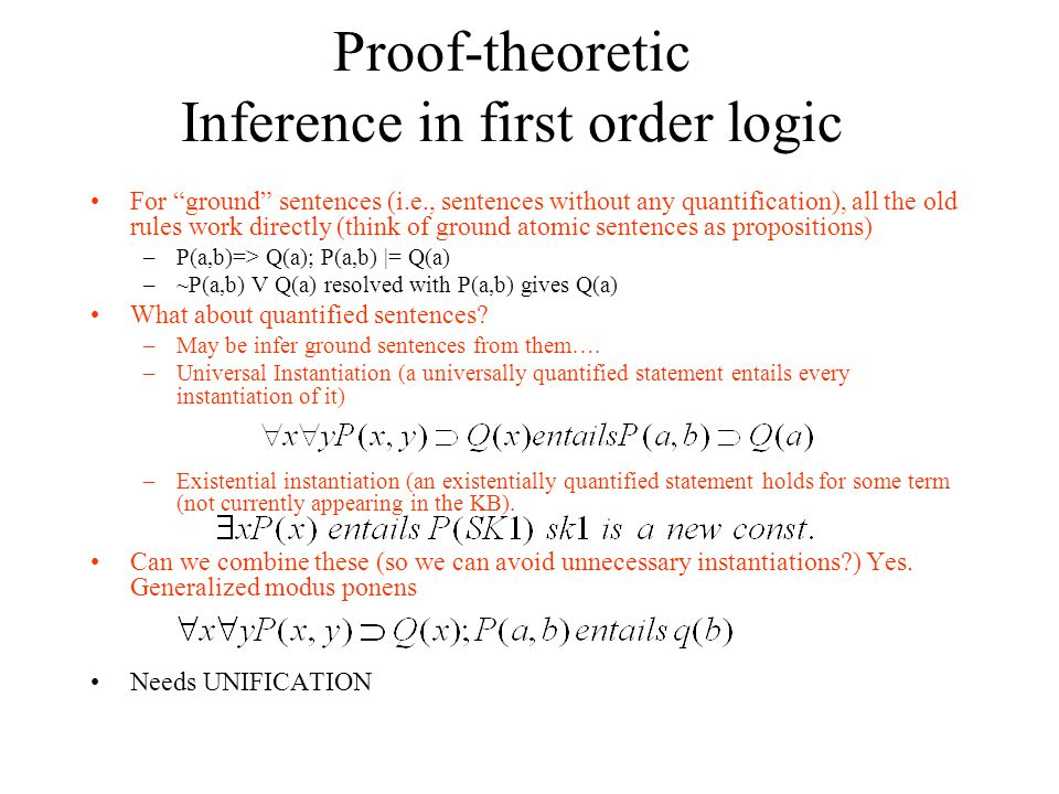 Proof-theoretic Inference in first order logic