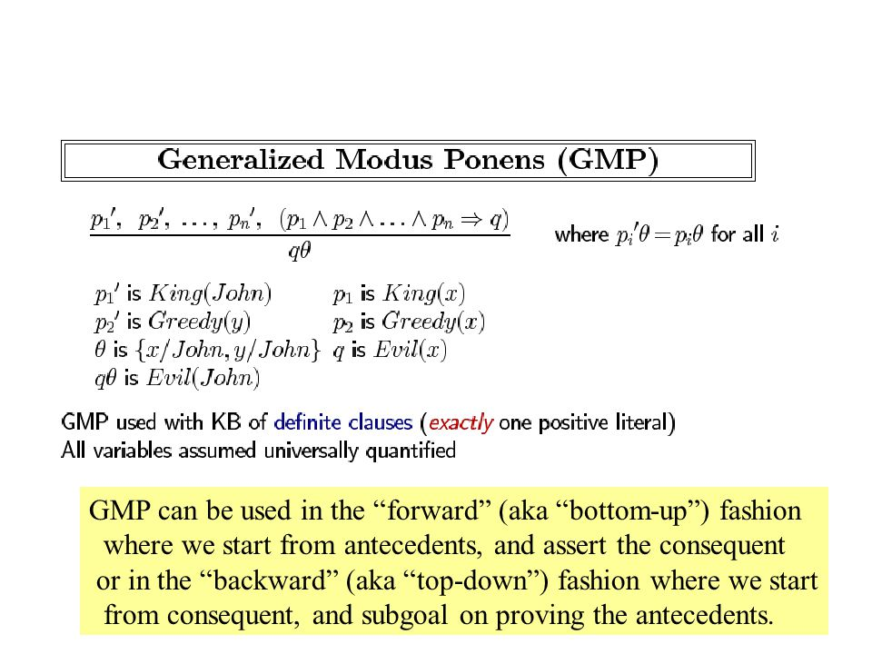 GMP can be used in the forward (aka bottom-up ) fashion