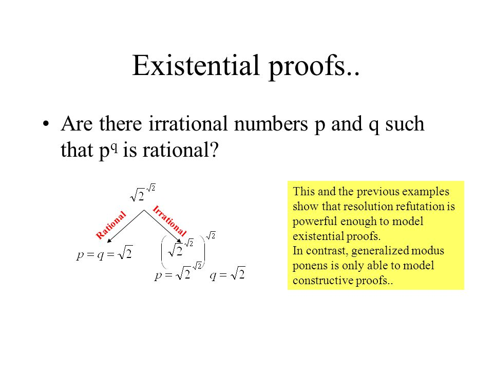Existential proofs.. Are there irrational numbers p and q such that pq is rational