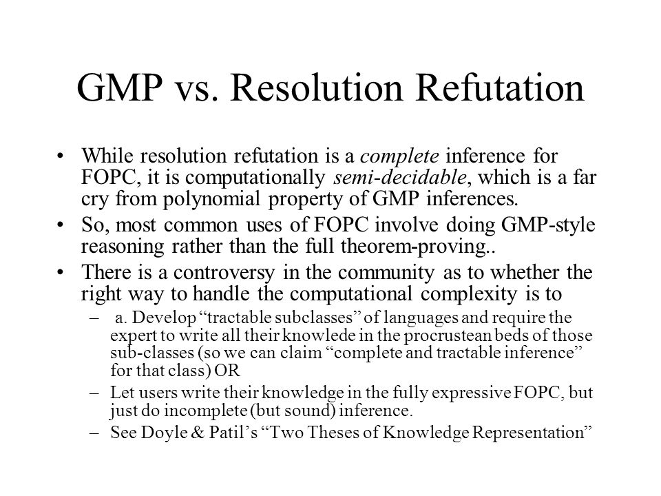 GMP vs. Resolution Refutation