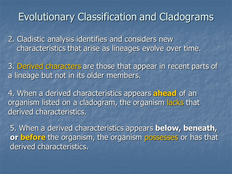 Evolutionary Classification and Cladograms