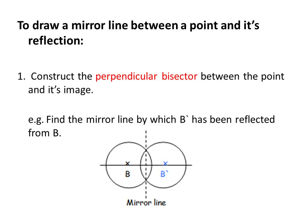 To draw a mirror line between a point and it's reflection: