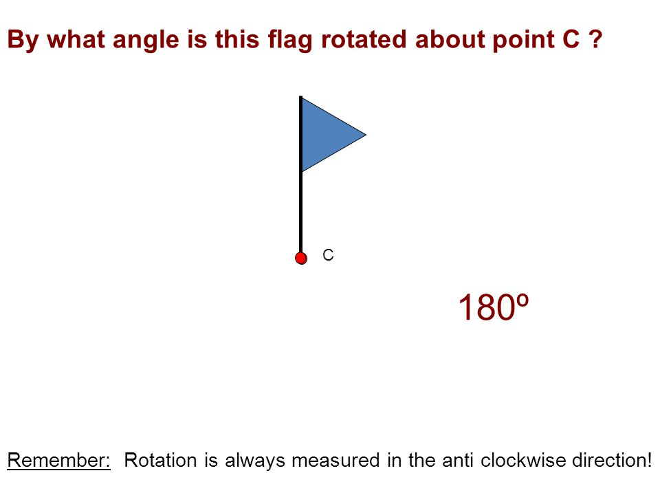 180º By what angle is this flag rotated about point C