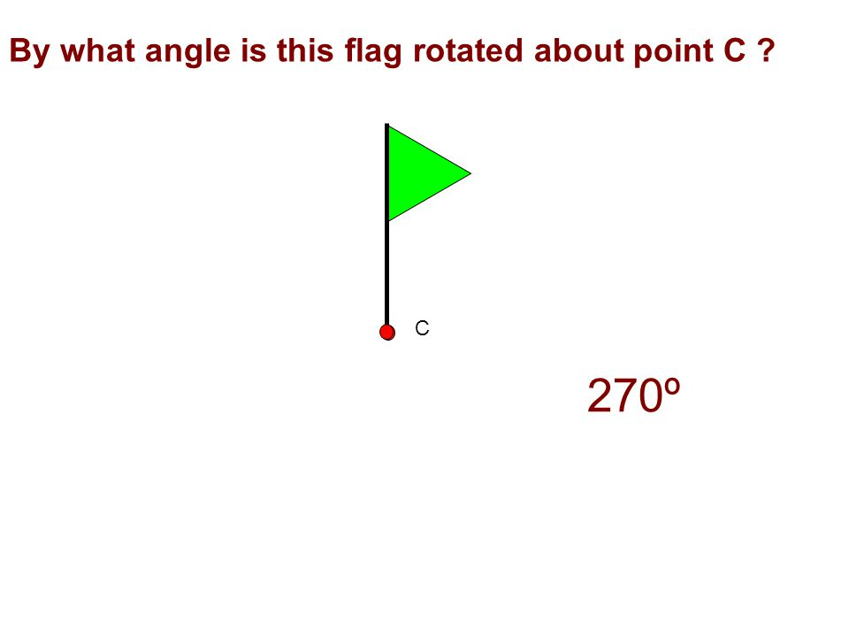 By what angle is this flag rotated about point C