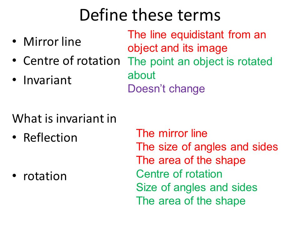 Define these terms Mirror line Centre of rotation Invariant