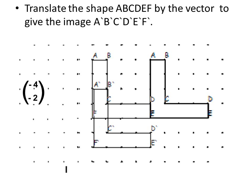 Translate the shape ABCDEF by the vector to give the image A`B`C`D`E`F`.