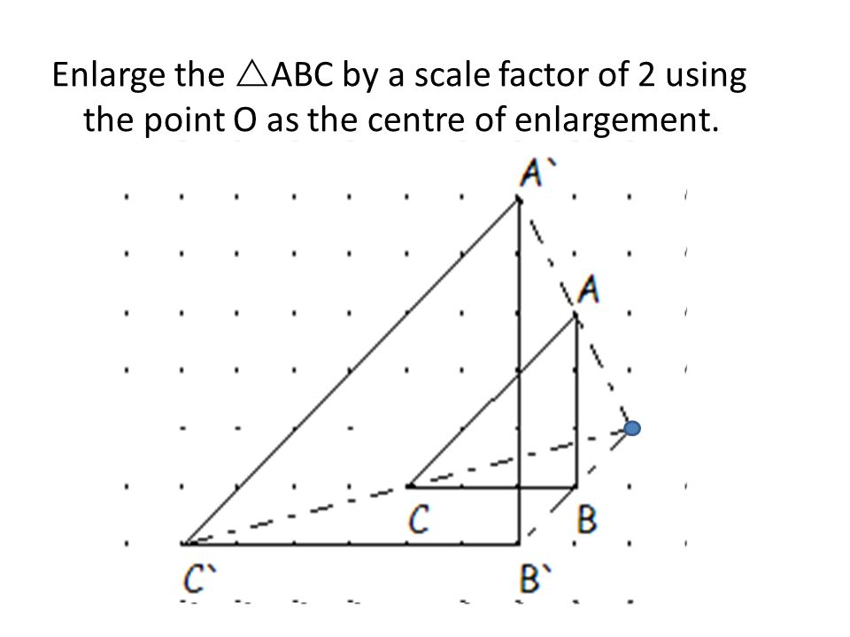Enlarge the ABC by a scale factor of 2 using the point O as the centre of enlargement.