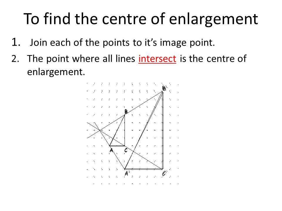 To find the centre of enlargement