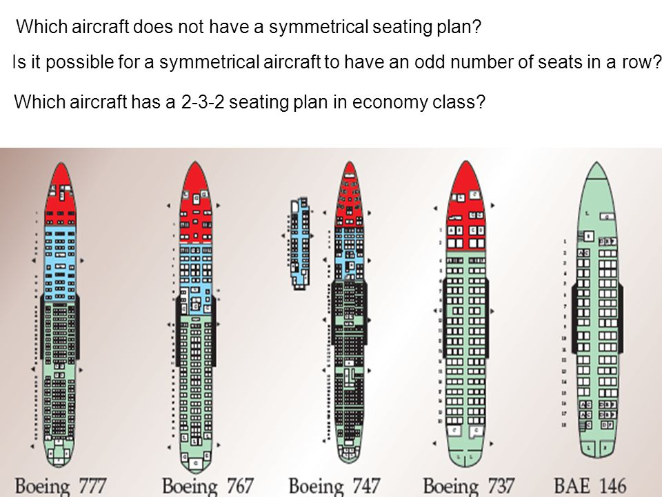 Which aircraft does not have a symmetrical seating plan
