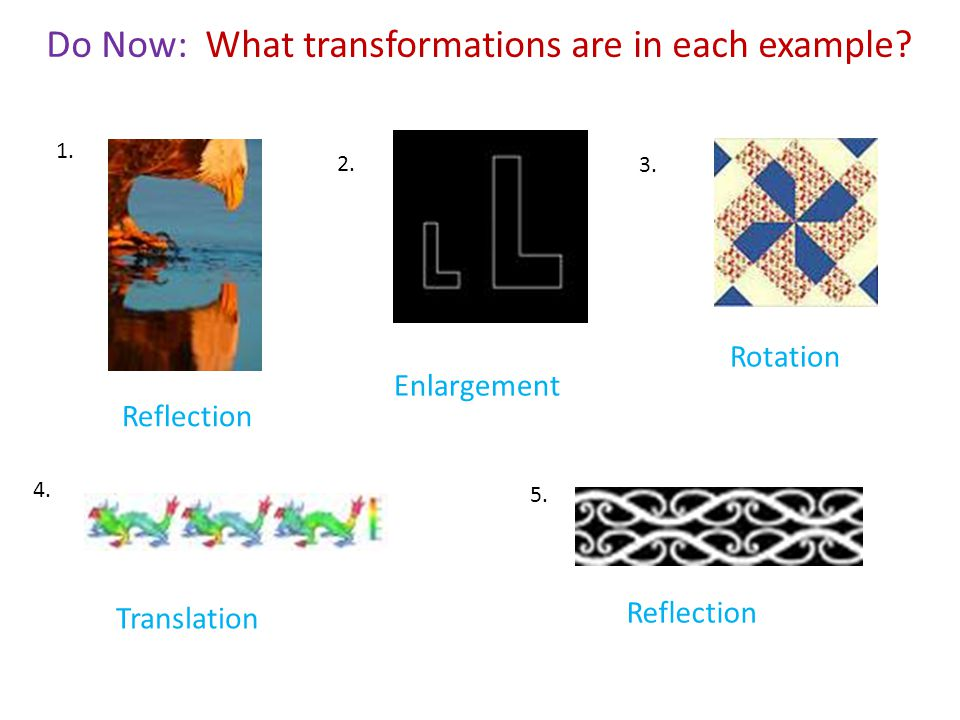 Do Now: What transformations are in each example