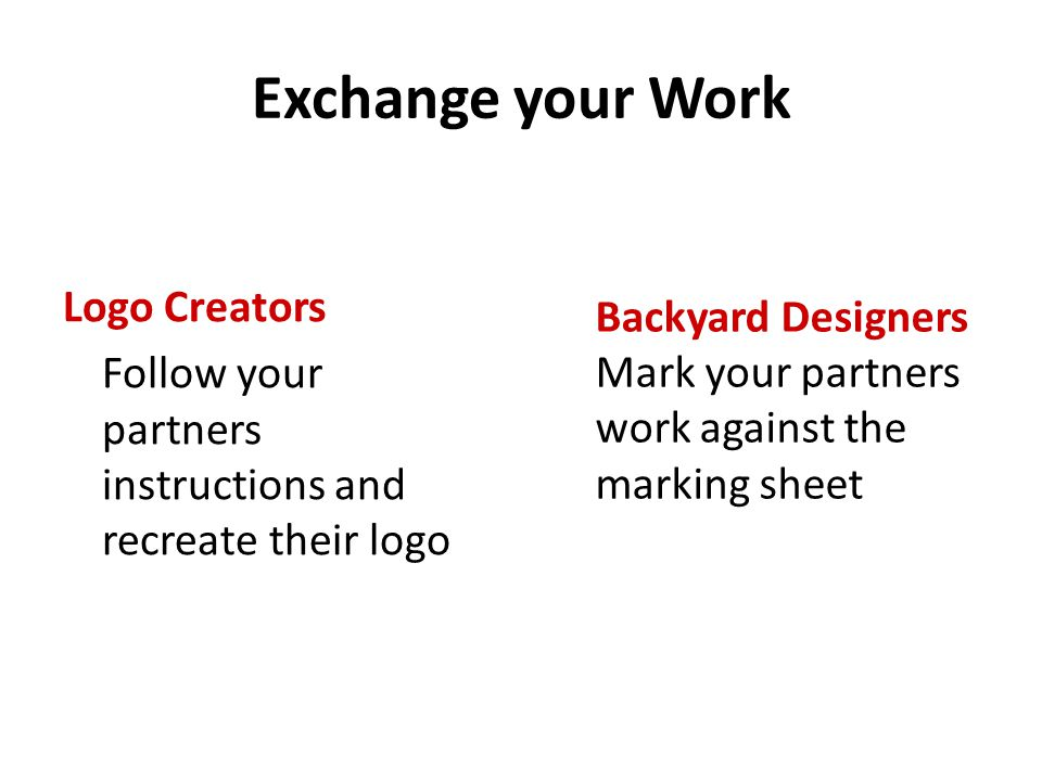 Exchange your Work Logo Creators Backyard Designers