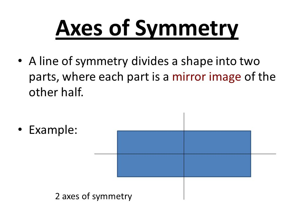 Axes of Symmetry A line of symmetry divides a shape into two parts, where each part is a mirror image of the other half.
