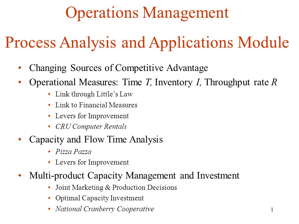 Operations Management Process Analysis and Applications Module