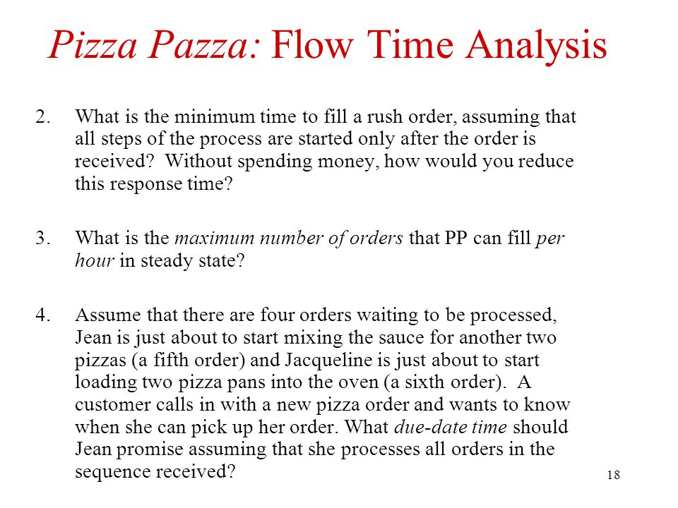 Pizza Pazza: Flow Time Analysis